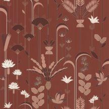 """Casadeco Labyrinth 102094047 EPHEMERAL Natur Tiszavirág stilizált levelek """"útvesztőjében"""" terrakotta barna fehér rézszín tapéta"""