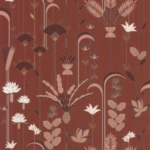 """Caselio Labyrinth 102094047 EPHEMERAL Natur Tiszavirág stilizált levelek """"útvesztőjében"""" terrakotta barna fehér rézszín tapéta"""
