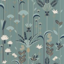 """Casadeco Labyrinth 102096023  EPHEMERAL Natur Tiszavirág stilizált levelek """"útvesztőjében"""" benzinkék sötétkék fehér arany tapéta"""