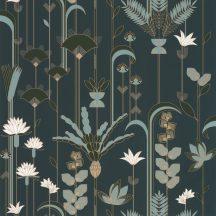 """Casadeco Labyrinth 102096175 EPHEMERAL Natur Tiszavirág stilizált levelek """"útvesztőjében"""" sötétkék khaki zöld petrol krém arany tapéta"""