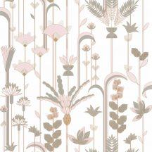 """Caselio Labyrinth 102097028  EPHEMERAL Natur Tiszavirág stilizált levelek """"útvesztőjében"""" fehér mandulazöld rózsaszín arany tapéta"""