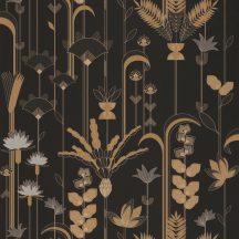 """Caselio Labyrinth 102099020  EPHEMERAL Natur Tiszavirág stilizált levelek """"útvesztőjében"""" fekete szürke szürkésbarna arany tapéta"""