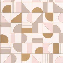 Casadeco Labyrinth 102101022 PUZZLE Geometrikus minden elemet a helyére krém halvány rózsaszín bézs arany tapéta
