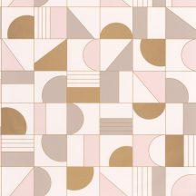 Caselio Labyrinth 102101022 PUZZLE Geometrikus minden elemet a helyére krém halvány rózsaszín bézs arany tapéta