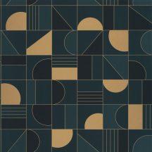 Casadeco Labyrinth 102106055  PUZZLE Geometrikus minden elemet a helyére sötétkék petrolkék arany tapéta