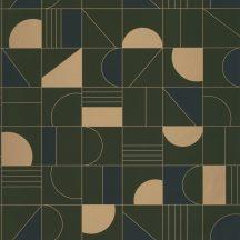 Casadeco Labyrinth 102106179  PUZZLE Geometrikus minden elemet a helyére sötétkék khaki zöld arany tapéta