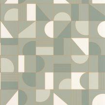 Caselio Labyrinth 102107024  PUZZLE Geometrikus minden elemet a helyére mandulazöld krémfehér arany tapéta