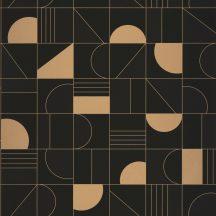 Casadeco Labyrinth 102109025  PUZZLE Geometrikus minden elemet a helyére fekete antracit arany tapéta