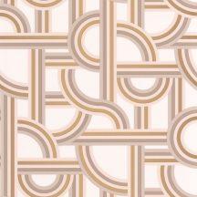 Caselio Labyrinth 102121020 IMPASS Geometrikus Mindenhova és sehova! zsákutcábó torkolló grafikus utak fehér bézs barna arany tapéta