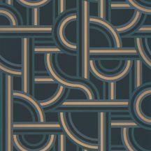 Casadeco Labyrinth 102126021 IMPASS Geometrikus Mindenhova és sehova! zsákutcábó torkolló grafikus utak kék petrol arany tapéta