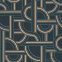 Caselio Labyrinth 102126021 IMPASS Geometrikus Mindenhova és sehova! zsákutcábó torkolló grafikus utak kék petrol arany tapéta