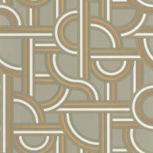 Casadeco Labyrinth 102127022  IMPASS Geometrikus Mindenhova és sehova! zsákutcábó torkolló grafikus utak mandulazöld zöld fehér arany tapéta