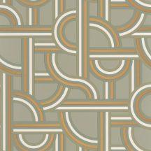 Caselio Labyrinth 102127022  IMPASS Geometrikus Mindenhova és sehova! zsákutcábó torkolló grafikus utak mandulazöld zöld fehér arany tapéta
