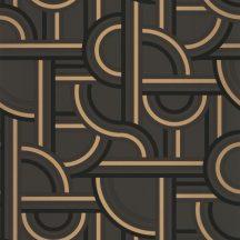 Casadeco Labyrinth 102129028  IMPASS Geometrikus Mindenhova és sehova! zsákutcábó torkolló grafikus utak fekete antracit arany tapéta