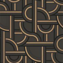 Caselio Labyrinth 102129028  IMPASS Geometrikus Mindenhova és sehova! zsákutcábó torkolló grafikus utak fekete antracit arany tapéta