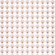 Caselio Labyrinth 102131026 PATCH Geometrikus, grafikus, szimmetrikus négyzetminta, 2D-3D játék krémfehér arany tapéta