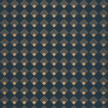 Casadeco Labyrinth 102136026 PATCH Geometrikus grafikus szimmetrikus négyzetminta, 2D-3D játék sötétkék arany tapéta