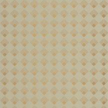 Casadeco Labyrinth 102137025 PATCH Geometrikus grafikus szimmetrikus négyzetminta, 2D-3D játék mandulazöld arany tapéta