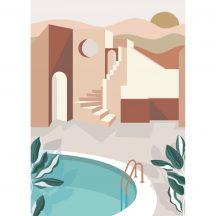 Caselio Labyrinth 102144044 ARCHWAYS Etno Mediterrán házak szépiában krém barna szines digitális falpanel