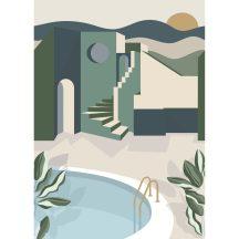 Casadeco Labyrinth 102146075 ARCHWAYS Etno Mediterrán házak szépiában krém khaki zöld vízkék sötétkék szürke digitális falpanel