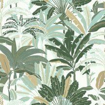 Caselio Escapade 102307773 Evasion Trópusi pálmafák fehér vízzöld zöld árnylatok bézsarany tapéta