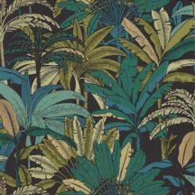Caselio Escapade 102309759 Evasion Trópusi pálmafák fekete khakizöld türkiz és zöld árnyalatok arany/bézsarany tapéta