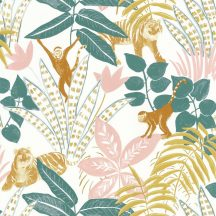 Caselio Escapade 102317244 Aventure Trópusi kaland a vadonban tigrisek és majmok társaságában fehér zöld okkersárga rózsaszín tapéta