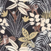 Caselio Escapade 102319248 Aventure Trópusi kaland a vadonban tigrisek és majmok társaságában fekete bézs barna arany tapéta
