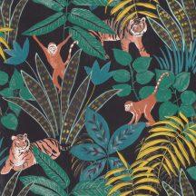 Caselio Escapade 102319704 Aventure Trópusi kaland a vadonban tigrisek és majmok társaságában fekete kék zöld sárga barna tapéta
