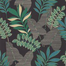 Caselio Escapade 102329779 Voyage Utazás a flóra-fauna világába cserjék levelei fekete kék és zöld árnyalatok bézsarany irizáló hatás tapéta