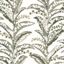 Caselio Escapade 102337735 Epopee Botanikus megejtő szépségű trópusi virágfűzér fehér khakizöld szürkésbézs bézsarany tapéta