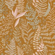 Caselio La Foret 102922347 WOODLAND Natur Botanikus realisztikus növényi (levelek) ábrázolás okkersárga rózsaszín bézs tapéta