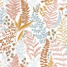 Caselio La Foret 102924366 WOODLAND Natur Botanikus realisztikus növényi (levelek) ábrázolás fehér korallszín okkersárga kék tapéta