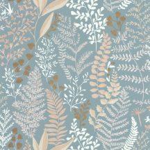 Caselio La Foret 102926100 WOODLAND Natur Botanikus realisztikus növényi (levelek) ábrázolás világoskék fehér bézs barna tapéta