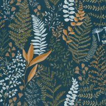 Caselio La Foret 102926671 WOODLAND Natur Botanikus realisztikus növényi (levelek) ábrázolás éjkék khakizöld okkersárga tapéta