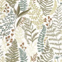 Caselio La Foret 102927019 WOODLAND Natur Botanikus realisztikus növényi (levelek) ábrázolás fehér khakizöld barna tapéta