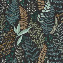 Caselio La Foret 102927927 WOODLAND Natur Botanikus realisztikus növényi (levelek) ábrázolás fekete smaragdzöld szines tapéta