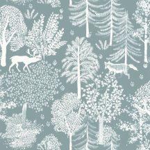 Caselio La Foret 102936033 BALLAD Natur Botanikus Erdei séta szarvasokkal rókákkal világoskék fehér tapéta