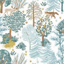 Caselio La Foret 102937012 BALLAD Natur Botanikus Erdei séta szarvasokkal rókákkal fehér vízzöld kék barna sárga tapéta