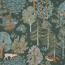 Caselio La Foret 102937726 BALLAD Natur Botanikus Erdei séta szarvasokkal rókákkal khakizöld szines tapéta