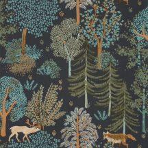 Caselio La Foret 102937940 BALLAD Natur Botanikus Erdei séta szarvasokkal rókákkal fekete khakizöld szines tapéta