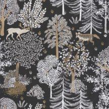 Caselio La Foret 102939090 BALLAD Natur Botanikus Erdei séta szarvasokkal rókákkal fekete fehér bézs barna tapéta
