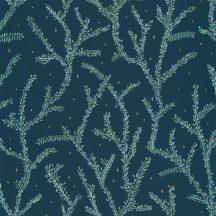Caselio La Foret 102946679 LITTLE WOODS Natur Botanikus finoman rajzolt ágak éjkék zöld világoskék aranybarna tapéta