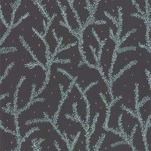 Caselio La Foret 102947983 LITTLE WOODS Natur Botanikus finoman rajzolt ágak fekete zöld világoskék aranybarna tapéta
