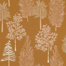 Caselio La Foret 102952237 THE TREE HOUSE Natur Botanikus Ikonikus minta erdőtelepítés a falon okkersárga fehér rózsaszín tapéta