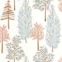Caselio La Foret 102956023 THE TREE HOUSE Natur Botanikus Ikonikus minta erdőtelepítés a falon fehér rózsaszín világoskék okkersárga tapéta