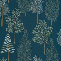 Caselio La Foret 102956614 THE TREE HOUSE Natur Botanikus Ikonikus minta erdőtelepítés a falon éjkék bézs aranybarna zöld világoskék tapéta