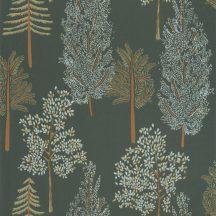 Caselio La Foret 102957773 THE TREE HOUSE Natur Botanikus Ikonikus minta erdőtelepítés a falon khakizöld aranybarna zöld világoskék tapéta