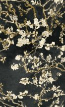 BN Van Gogh 2, 17145  Natur virágos mandulavirágzás antracit sárga bézs krémfehér tapéta