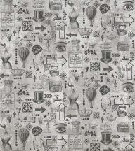 BN Riviera Maison 2, 300323 absztrakt Vintage fehér szürke ezüst fekete falpanel